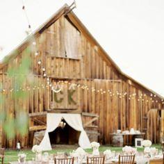 Rustic barn wedding inspiration ~ fairy lights + antlers + DIY wooden details #weddinggawker
