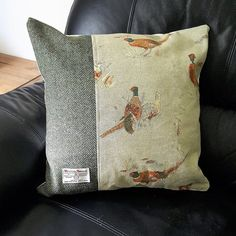 cushions made from Harris tweed and fryett's pheasant also available in stags heads Stag Cushion, Felt Cushion, Cushion Fabric, Animal Cushions, Cushions On Sofa, Country Cushions, Harris Tweed Fabric, Living Room Cushions, Christmas Cushions
