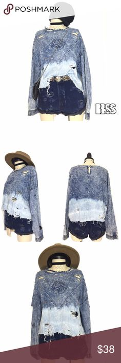 VINTAGE DISTRESSED REWORKED DENIM DIP DYE TOP VINTAGE DISTRESSED REWORKED DENIM DIP DYE TOP!! Vintage denim shirt with sun image embossed on front with light studding and distressing all over garment! Heavy shredding on bottom and neckline with dip dye all along bottom! Vintage Tops