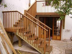 Exterior Designs,Appealing Outdoor Wooden Deck Stairs With Natural Color Wooden Stair Stringer And Railings Design Ideas For Front Yard,Inspiring Outdoor Wood Stairs Design Ideas For Your Homes Building Design Plan, Building A Deck, Outside Stairs, Deck Stairs, Steel Stairs, Under Deck Ceiling, House Paint Color Combination, Exterior Stairs, Porch Steps