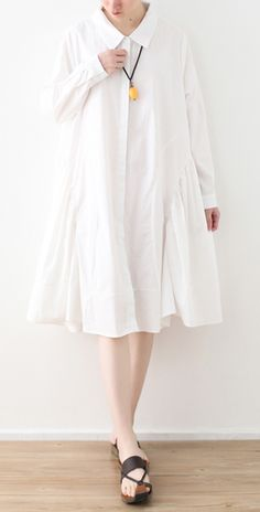 Large White Shirt Women Medium Length Spring Summer Cotton Dress Cotton On Outfits, Cotton Dresses, Summer Dress Outfits, Fall Dresses, Casual Frocks, Cocoon Dress, White Shirts Women, White Linen Dresses, Spring Summer