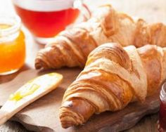 fresh croissants with jam for breakfast - stock photo Croissants, French Croissant, Croissant Dough, Breakfast Time, Kitchenaid, Food Photo, Wine Recipes, Good Food, Brunch