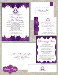 Purple and pink modern damask invitation suite by Matinae Design Studio - www.MatinaeDesignStudio.com