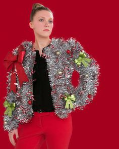 13 Cheap, Easy and Remarkably Ugly Christmas Sweaters You Can Totally Make DIY Ugly Christmas Sweaters That Are Funny and Tacky Girls Ugly Christmas Sweater, Making Ugly Christmas Sweaters, Ugly Sweater Party, Christmas Clothes, Tacky Christmas Outfit, Tacky Christmas Party, Funny Christmas Outfits, Holiday Sweaters, Christmas Decorations