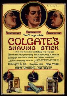 ๑ Nineteen Fourteen ๑ historical happenings, fashion, art & style from a century ago - Colgate's Shaving Stick Ad, 1914 Vintage Travel Posters, Vintage Ads, Vintage Prints, Vintage Stuff, Shaving Stick, Wet Shaving, Clever Advertising, Advertising Poster, Magnolia Book