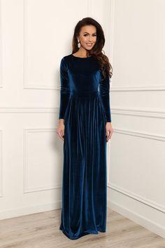 Dark Electric Velvet Maxi Elegant Dress Long Sleeves by DesirVale