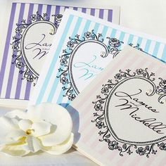Boutique wedding invitation - french vintage heart with soft pin stripes
