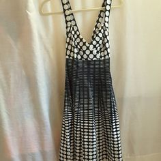 Calvin Klein dress Calvin Klein, size 6, polka dotted into stripe dress, straps criss cross in back, zipper with eye and hook closure in back, 97% cotton 3% spandex gorgeous dress. Calvin Klein Dresses Midi