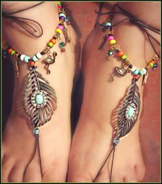 Barefoot Sandals Gypsy hippie crochet foot jewelry -Turquoise, crystal Boho Glamping WANDERLUST anklets barefoot jewelry bottomless sandal https://www.facebook.com/groups/suzyhomefaker/