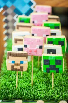Minecraft Character Cookies on Sticks from a Minecraft Birthday Party via Kara's Party Ideas KarasPartyIdeas.com (10)