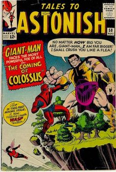 Tales to Astonish VG Kirby Giant-Man Wasp Captain America Origin Colossus Marvel Comics Superheroes, Hulk Marvel, Marvel Comic Books, Comic Books Art, Avengers, Comic Art, Marvel Villains, Marvel Characters, Silver Age Comics