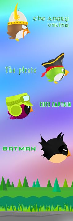 Now more pressure, twists and excitements in Deadly Spikes, but more power-ups to control the game. Choose your favorite skin from Captain, Pirate, Batman or Angry Viking for your bird and update the game for new bonus level.