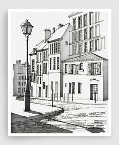 ★★★ OFF everything until 20 October 2019 ★★★ (Prices already reduced) RUE DE LABREUVOIR – (black and white version) - Paris illustration MEDIUM: Fine Art Giclee Print signed by the artist on the back of the artwork PRINT SIZES: inches with a Illustration Parisienne, Paris Illustration, Pin Ups Vintage, Art Parisien, Grand Art Mural, Paper Architecture, Paris Art, Paris Decor, Perspective Drawing