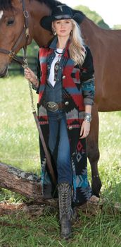 Why I love this. Colors (dark and muted), cut (love long coats), feel (southwestern style).