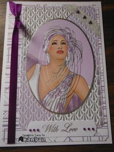 Deco lady on Lilac this time, used matching backing papers and finished with ribbons, pearls & gems