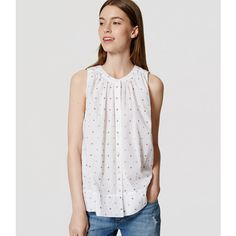 LOFT Petite Spotted Swing Shell ($45) ❤ liked on Polyvore featuring tops, white, polka dot top, sleeveless tops, ruched tank, polka dot tank and ruched tops