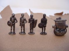 lot of 5 mini Pewter figurines-soldiers and boat