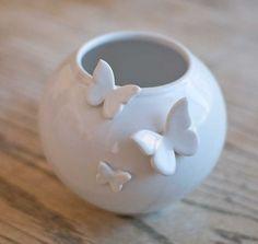 ceramic vessel, butterflies, moths, white