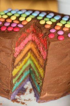 Rainbow cake à la ganache mogador pierre hermé