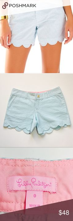 NWOT Lilly Pulitzer Ariel Buttercup Shorts Size 0 New without tags. Never worn. Sold out in stores and online. Gorgeous scalloped edges. Blue/white seersucker. All seersucker cotton. Size 0. Lilly Pulitzer Shorts