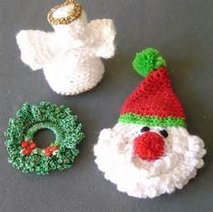 FOUR Crochet Christmas pudding tree decorations by YellowSherbet
