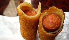 中国のホットドッグ|エデンウォック、ニューヨーク市でグラットコーシャー中国と寿司レストランで、ダイナーは前菜メニューの卵のロール包まれたホットドッグを見つけることができます。ホットドッグは、卵を浸漬と深いシートに包まれている