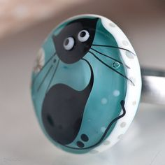 Funky Colorstorm Kitty Cat Ring Topper Lampwork by Glassbonbon, $69.00 (on etsy.com)