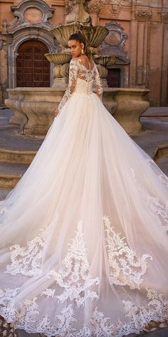 naviblue 2019 bridal long sleeves illusion bateau straight across neckline heavily embellished bodice romantic a line wedding dress covered lace back royal train 10 bv - Naviblue 2019 Wedding Dresses Wedding Inspirasi Perfect Wedding Dress, Best Wedding Dresses, Bridal Dresses, Trendy Wedding, Wedding Ideas, Elegant Wedding, Disney Inspired Wedding Dresses, Wedding Styles, Expensive Wedding Dress