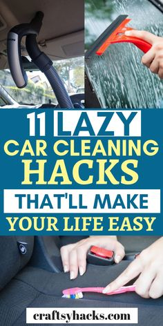 11 Lazy Car Cleaning Hacks That'll Make Your Life Easy - - Sharing 11 super easy car cleaning tips that you simply have to try. These clean car hacks will help you to clean car lights, the seats and much more! Diy Interior Car Cleaning, Cleaning Inside Of Car, Car Cleaning Hacks, Car Hacks, Cleaning Car Seats, Car Upholstery Cleaner, Cleaning Car Upholstery, Clean Car Mats, Clean Your Car