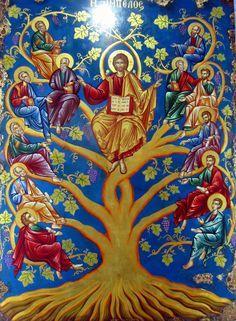 Tree of Life - Christus als Weinstock Religious Images, Religious Icons, Religious Art, Byzantine Icons, Byzantine Art, Pictures Of Jesus Christ, Christ The King, Catholic Art, Orthodox Icons