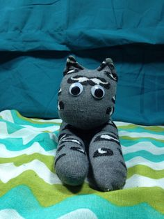 Sock Cat: grey and black spots, Made by my wonderful Mama