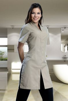 Salon Uniform, Spa Uniform, Hotel Uniform, Scrubs Uniform, Uniform Ideas, Housekeeping Uniform, High Collar Blouse, Scrubs Outfit, Fancy Tops
