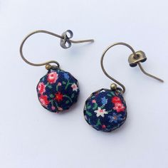 Tiny Flowers - Navy Floral Fabric Earrings.