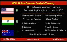 Trainer hosted Online Business Analysis Training with focus on CBAP by IIBA EEP by MCAL in Australia, India and United States