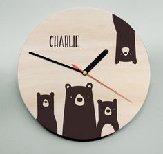 Unique Personalised Clock / Childs Clock / Nursery Clock /