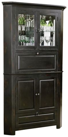 Our Corner Bar Cabinet Offers Luxury Space Saving. This Distressed Wine U0026  Bar Cabinet Fits Right Into Your Corner Space.