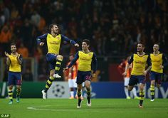 Aaron Ramsey celebrates after scoring his second goal of the night against Galatasaray