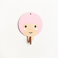 Children's wooden wall hook - Pink haired girl These little wall hooks are made from 6mm plywood and handpainted by me. They are perfect for hanging up little bags, coats and accessories and look adorable all hanging in a little line. (Not perfect for ...