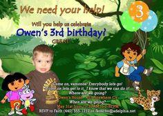 Dora and Diego Birthday Invitation