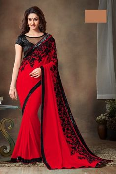 Buy New Latest Mintoshree Red designer saree with sequence work Online India - 3345468