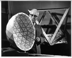 Buckminster Fuller, he patented the geometry for geodesic domes. Bucky holding the model of the Ford Rotunda Dome designed by TC Howard. Richard Buckminster Fuller, Geodesic Sphere, Architecture 101, Dome Structure, Architectural Engineering, Spaceship Earth, Dome House, Geometric Shapes, Bucky