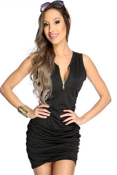 In need of a smoking hot dress to wear to tonights social gathering. Then we have the perfect-hot dress for you. The vibrant color will turn heads as you strut your stuff, in this sexy tight fitted. Featuring round slip neckline with adjustable front zipper, sleeveless style, cinched side detailing followed by a curve hugging fit. 95% Polyester 5% Polyurethane