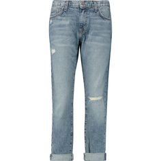 Current/Elliott The Fling distressed mid-rise boyfriend jeans (2.638.875 VND) ❤ liked on Polyvore featuring jeans, light denim, boyfriend fit jeans, destructed boyfriend jeans, boyfriend cropped jeans, mid rise boyfriend jeans and low rise jeans