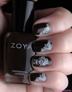 Dark nails, Drawings on nails, Nails ideas 2016, Nails trends 2016, Nails with roses, Nails with stickers, Pattern nails, Rose nail art