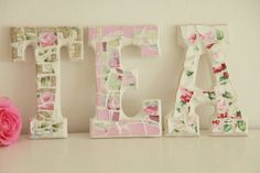 Large PINK Mosaic Letters.....Spell TEA or EAT