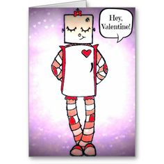 Hand drawn Cute Comic Style Robot Valentine's Day Card #zazzle #valentine #robots #valentinesday #greetingcards #artwork