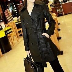 Black,Double-breasted, Leather Coat,Wendybox Faux Leather Jackets, Double Breasted, Fashion Accessories, Coat, Shopping, Clothes, Black, Holiday, Ideas
