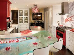 Modern kitchen with a Chihuly!