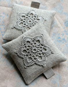 Lavender sachets -- crochet motif -- set of 2. $16,00, via Etsy.
