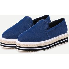 Blue Denim Elastic Rubber Mixed Espadrille Shoes ($37) ❤ liked on Polyvore featuring shoes and sandals